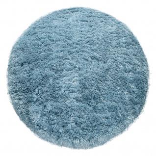 Hochflor Teppich Wohnzimmer Shaggy Pastell Einfarbig Weich Flauschig Türkis - Vorschau 2