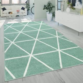 Teppich Wohnzimmer Grün Weiß Skandi Design Rauten Muster Pastell Weich Kurzflor