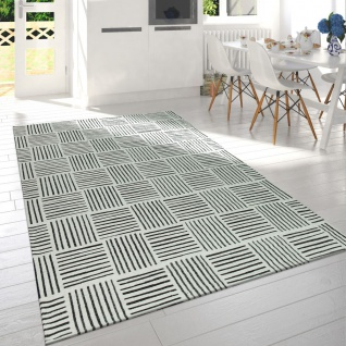 Wohnzimmer Teppich Schwarz Weiß Karo Design Streifen Muster Meliert Kurzflor