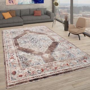 Teppich Mit Orientalischem Muster, Kurzflor-Teppich Für Wohnzimmer, In Beige