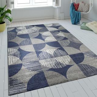 Teppich Wohnzimmer Kurzflor Kreise Karo Design Batik In Blau Grau