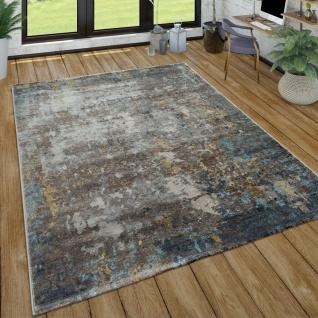 Wohnzimmer-Teppich, Kurzflor Im Used Look, Modernes Design In Grau, Blau, Grau