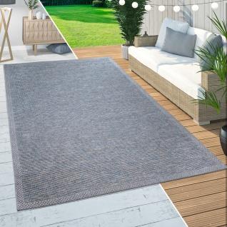 In-& Outdoor Teppich Balkon Terrasse Küchenteppich Modernem Bordüren Design Blau