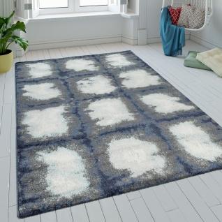 Teppich Wohnzimmer Kurzflor Karo Design Batik In Blau Grau Weiss