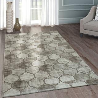 Moderner Heatset Designer Teppich Kurzflor Marokanisches Muster Beige Creme