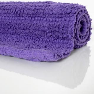 Badematte Badteppich Badezimmerteppich aus Baumwolle Einfarbig in Lila - Vorschau 2