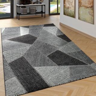 Edler Designer Teppich Wohnzimmer Hoch Tief Effekt Rauten Modern Grau