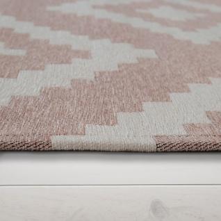 Moderner Wohnzimmer Kurzflor Teppich Skandi Design Rauten Muster In Rosa Weiß - Vorschau 2
