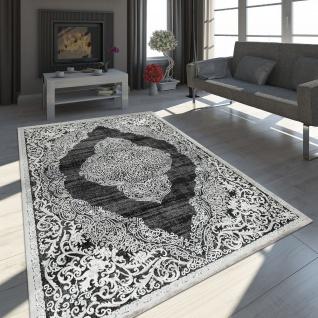 Teppich Wohnzimmer Kurzflor Vintage Ornamente Orient Muster Schwarz Weiß