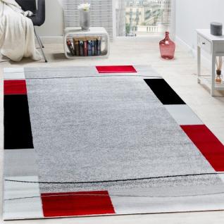 Designer Teppich Wohnzimmer Kurzflor Modern Elegant Bordüre In Grau Schwarz Rot