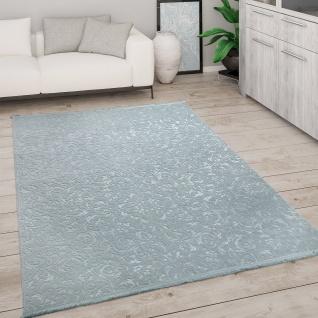 Teppich Wohnzimmer Kurzflor Modern Mit Fransen 3D Effekt Weich Ornamente Türkis