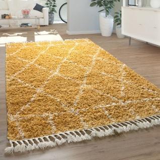Hochflor Teppich Gelb Wohnzimmer Berber Muster Orient Design Shaggy Weich
