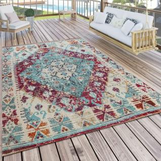 In- & Outdoor-Teppich Für Balkon U. Terrasse M. Orient-Design, Kariert In Lila