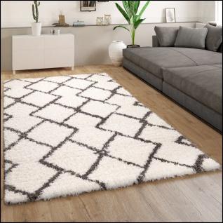Hochflor Teppich Wohnzimmer Shaggy Langflor Modernes Skandi Muster Grau Creme