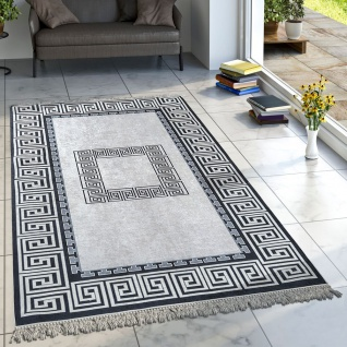 Designer Teppich Wohnzimmer Teppiche Orient Muster Bedruckt Bordüre Schwarz Weiß