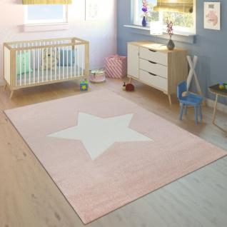 Kinderteppich Kinderzimmer Mädchen Modern Großer Stern In Pastell Rosa Weiß