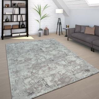 Wohnzimmer Teppich Grau Beton Design Used Look Industrial Stil Robust Kurzflor