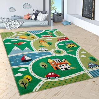 Kinder-Teppich Mit Straßen-Design, Kurzflor Für Kinderzimmer, Landschaft in Grün