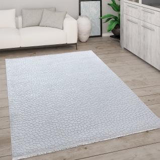 Teppich Wohnzimmer Kurzflor Mit Fransen 3D Effekt Weich Abstraktes Muster Grau