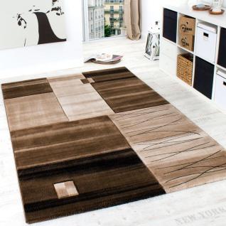 Edler Designer Teppich Geometrisch mit Konturenschnitt in Braun Beige Creme Meliert