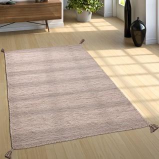 Designer Teppich Webteppich Kelim Handgewebt 100% Baumwolle Modern Meliert Beige