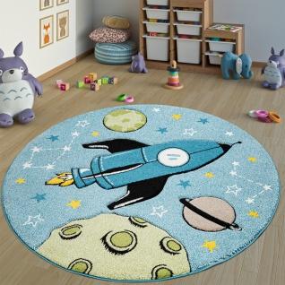Kinderteppich Kinderzimmer Teppich Rund Kurzflor Weltraum Rakete In Blau