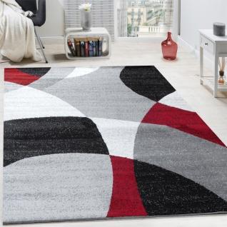 Designer Teppich Kurzflor Teppich Modern Abstrakte Halbkreise Muster In Rot Grau