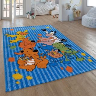 Kinder-Teppich Die Lieben Sieben, Kurzflor-Teppich Für Kinderzimmer, In Blau