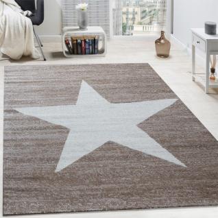 Designer Teppich Stern Muster Modern Trendig Kurzflor Meliert In Braun Beige