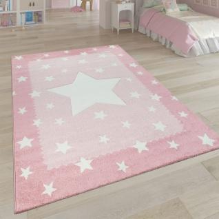 Kinderteppich Kinderzimmer Rosa 3-D Sternen Design Bordüre Weich Robust Kurzflor