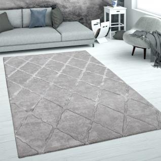 Teppich Wohnzimmer Kurzflor Skandinavisches Muster Weich 3D Glanz Effekt Grau Silber