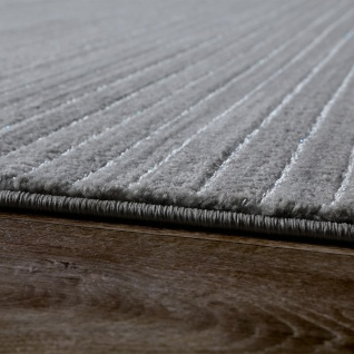 Teppich Wohnzimmer Modern Glitzergarn Gestreift Linien Kurzflor Meliert Grau    Vorschau 2