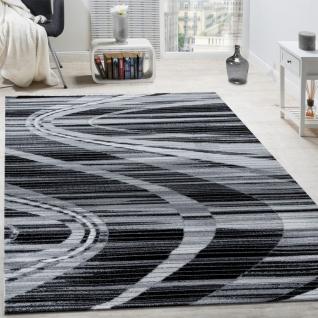 Edler Designer Teppich Geschwungene Linien Kurzflor Grau Creme Schwarz AUSVERKAUF