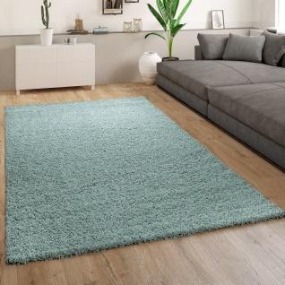 Teppich Wohnzimmer Hochflor Einfarbiges Modernes Muster Schlicht Türkis