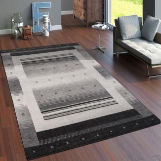 Teppich Handgewebt Gabbeh Hochwertig 100% Wolle Neu Meliert Bordüre Hellgrau - Vorschau 1