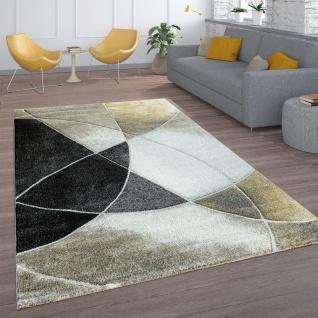 Wohnzimmer-Teppich, Kurzflor Mit Retro-Design Und Linien, In Schwarz Beige Gold