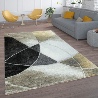Wohnzimmer-Teppich, Kurzflor Mit Retro-Muster Und Linien, In Schwarz Beige Gold