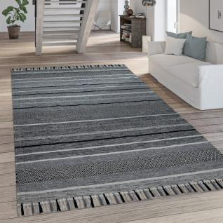 Teppich Wohnzimmer Moderne Streifen Optik Mit Fransen Baumwolle Webteppich Grau