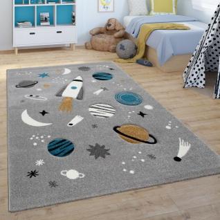 Kinder-Teppich, Spiel-Teppich Für Kinderzimmer, Weltall, Rakete, Planeten, Grau
