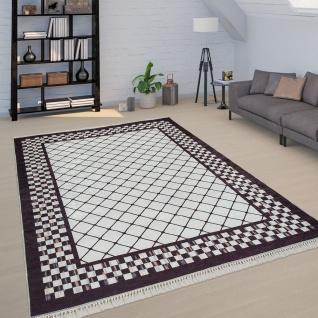 Wohnzimmer Teppich Schwarz Weiß Weich Rauten Muster Used Look Bordüre  Kurzflor