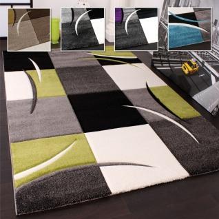 Wohnzimmer Teppich In Versch. Farben und Größen Karo Muster Streifen 3-D Design Kurzflor