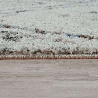 Kurzflor Wohnzimmer Teppich Modern Ethno Design Rauten Muster In Creme Blau - Vorschau 2