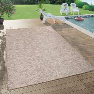 In- & Outdoor-Teppich Für Wohnzimmer, Balkon, Terrasse, Flachgewebe In Beige