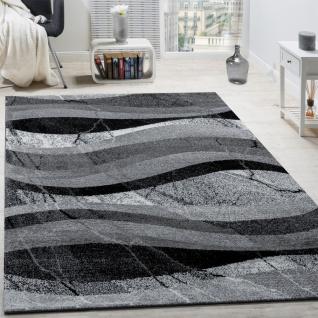 Designer Teppich Modern Kurzflor Wellen Optik Abstrakt Grau Schwarz Anthrazit