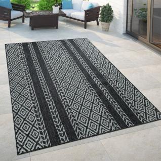 In- & Outdoor-Teppich, Für Balkon Und Terrasse Mit Skandi-Design, In Schwarz