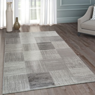 Moderner Heatset Designer Teppich Kurzflor Karo Design In Pastell Grau Weiß