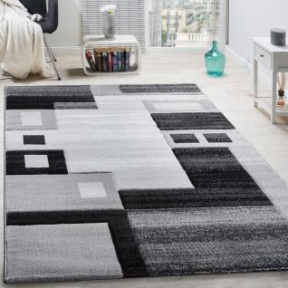 Designer Teppich Edel Konturenschnitt Kariert Grau Schwarz Meliert AUSVERKAUF
