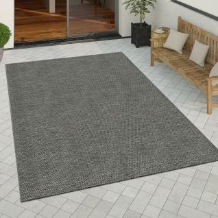 In- & Outdoor Teppich Küchenteppich Design Einfarbig Sisal Optik Dunkelgrau