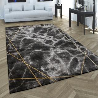 Teppich Wohnzimmer Kurzflor Stein Optik Geometrisches Muster 3D Effekt Gold