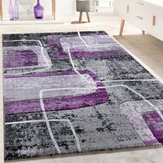 Designer Teppich Konturenschnitt Retro Muster In Grau Schwarz Lila Meliert